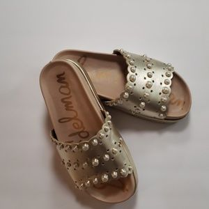 Sam Edelman Shoes - Sam Edelman Sera Pearl Metallic Womens Slides